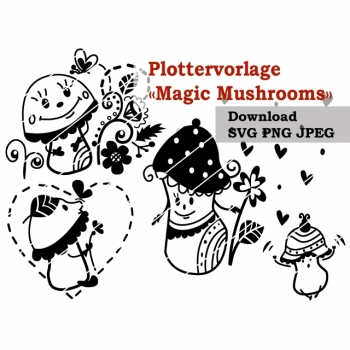 "Plottervorlage Plotterdatei ""Magic Mushrooms"" PNG SVG JPG DXF Download Artikel"