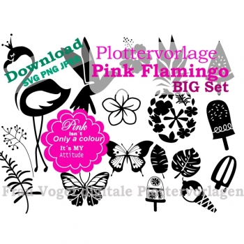 "Plotter Template Plotter File ""Pink Flamingo"" SVG PNG JPG DXF Download Article"