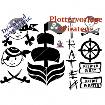 "Plottervorlage Plotterdatei ""Piraten"" PNG SVG JPG DXF Download Artikel"