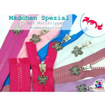 Zipper divisible motif zipper butterfly type length 65cm plastic tooth 5mm 30 colors on offer