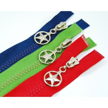 Star zipper type 1 divisible Length 70cm Plastic tooth 5mm over 30 colors on offer