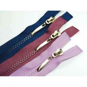 Divisible zippers length 65 cm plastic tooth 5mm classic collection type 1 large color selection