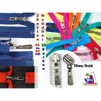 Reversible Zipper Titanium Length 90cm Plastic Tooth 5mm Num.5, 5 Colors
