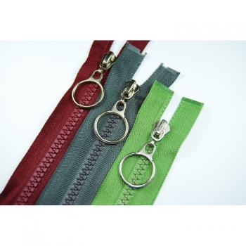 Ring zipper with sturdy plastic teeth 5mm, Num.5 length 65 cm divisible, 30 colors on offer