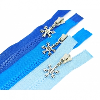 "Zipper with motif zipper ""Snowflack"", divisible, length 70cm, plastic tooth 5mm, 25 colors on offer"