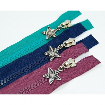 Star zipper type 3, divisible length 40cm 5mm ruffle, big choice of colors