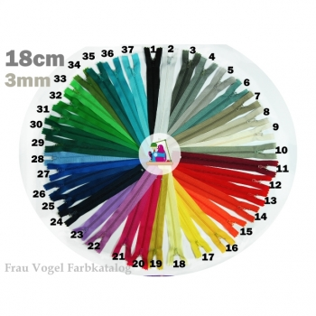SALE! Zipper indivisible length 18 cm fine spiral track 3mm Num.3, 37 colors to choose from
