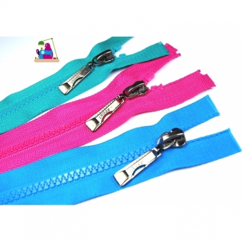 Zipper Sport style divisible length 65 cm sturdy plastic tooth 5mm over 30 colors on offer