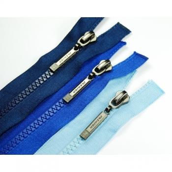 Fashion zipper oxide divisible length 50cm sturdy plastic tooth 5mm 30 colors on offer