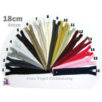 Zipper indivisible Length 18cm Spiral 4mm Num.4 basic colors