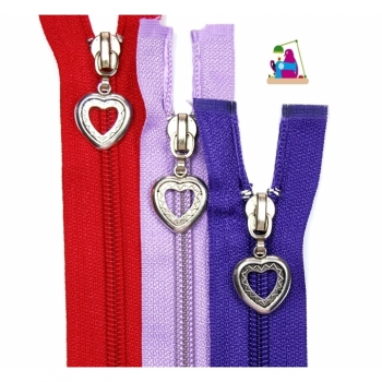 Zipper with motif zipper heart type 2 divisible spiral 5mm Num 5 28 colors on offer