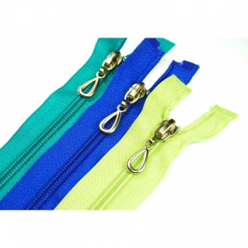 Zipper divisible Length 40cm Spiral 5mm Motifzipper Drops 30 colors on offer