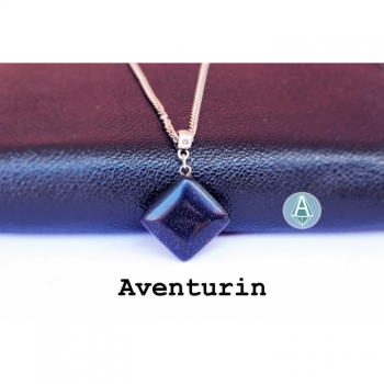Necklace Chain Pendant Gemstone Aventurine dark purple length 55cm