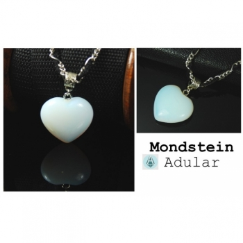 Necklace Chain Pendant Gemstone Moonstone Heart Length 49cm