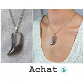 Necklace Chain Pendant Gemstone Agate Gray Horn Length 49cm