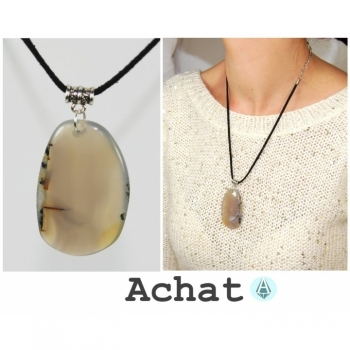 Necklace chain pendant gemstone agate gray length 52cm