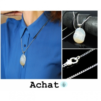 Necklace Chain Pendant Gemstone Agate white length 72cm