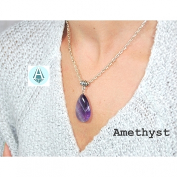 Necklace Chain Pendant Gemstone Amethyst Length 56 cm