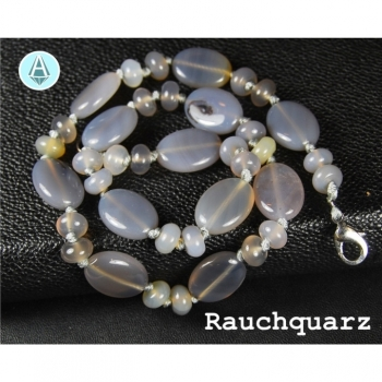 Necklace jewelry chain gemstone smoky quartz length 47cm gray