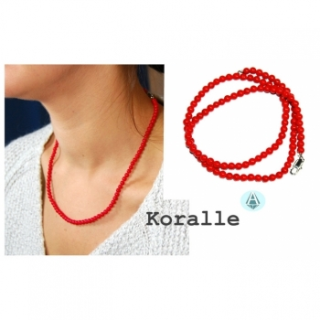 Necklace chain necklace coral red length 45cm noble and fine