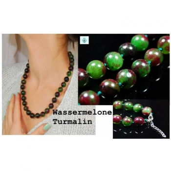 Necklace Chain Jewelry Gemstone Watermelon Tourmaline Length 55cm Green Red