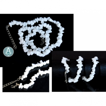 Necklace,  gemstone agate length 52cm, white