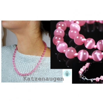 Necklace Chain Jewelry Gem Cat Eye Length 45cm soft Pink