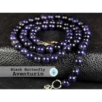 Necklace Necklace Chain Gemstone Aventurine dark purple Black Butterfly length 50cm