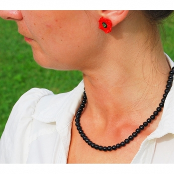 Necklace, chain, gemstone agate length 47cm, black noble and elegant