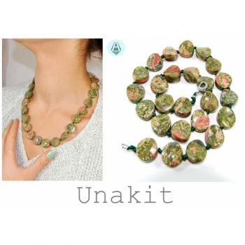 Necklace, chain, gemstone unakite length 51cm green coral