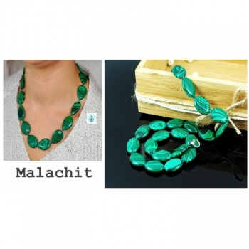 Necklace, chain, malachite gemstone length 47cm emerald green