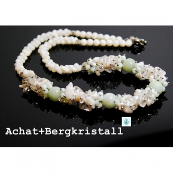 Set: Bracelet + Necklace Chain Agate Beads Rock Crystal L55cm white light green