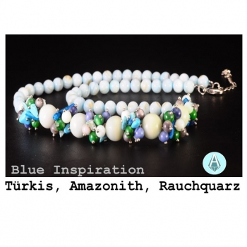 Necklace, necklace, gemstone Amazonith, turquoise, quartz