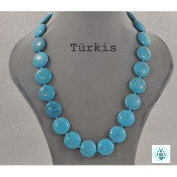 Necklace, jewelry, gemstone jewelry Turquoise length 49 cm, light blue