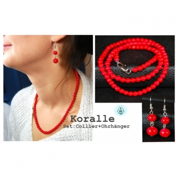 Set: necklace + earrings coral red length 46cm