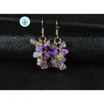 Earrings gemstone amethyst length 40mm, purple