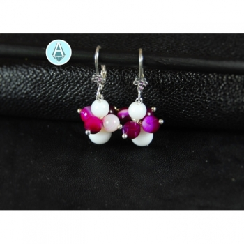 Earrings Gemstone Agate white pink length 43mm, noble
