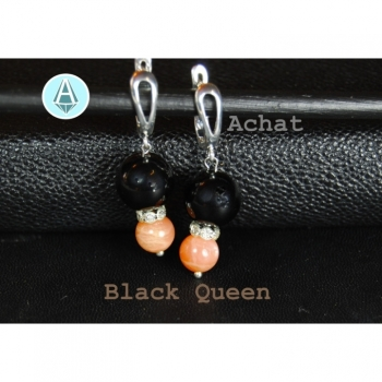 Earring Gemstone Agate black / sand length 43mm, classy Black Queen