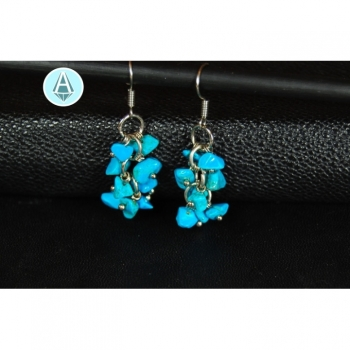 Earrings gemstone turquoise length 40mm, noble, turquoise blue