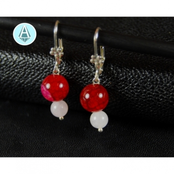 Earrings gemstone agate white / pink length 40mm, noble