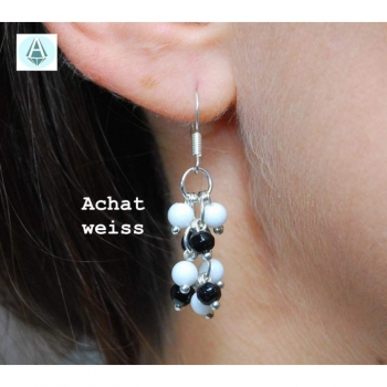 Earrings gemstone agate white black length 35mm elegant classic