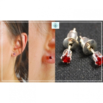Studs, earrings, fashion jewelry classy, delicate, red