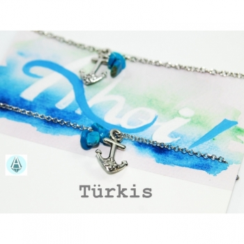 Bracelet friendship bracelet anchor turquoise length 11cm