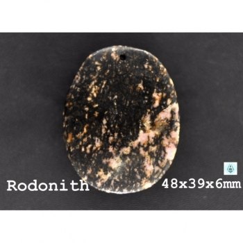 Gemstone Rodonith 48x39x6mm black, brown