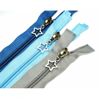 "Zipper divisible length 45cm spiral track 5 mm with motif zipper ""star"" type 2"