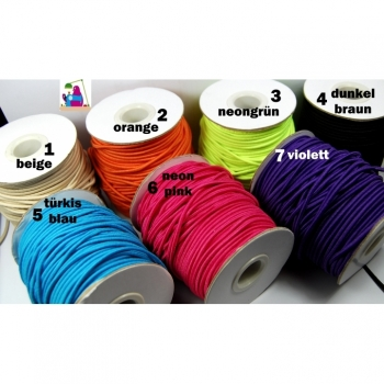 Rubber cord, hat rubber, elastic cord diameter ca.2 mm, 7 colors on offer pink purple orange yellow turquoise ...