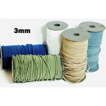 Rubber cord, hat rubber, elastic cord diameter 3mm 5 colors on offer