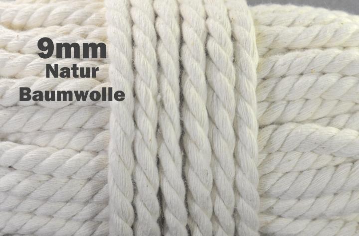 Baumwollkordel Schnur Dekoband Durchmesser 9 mm, Farbe naturbeige perfekt für Jacken Kaputzen, Turnbeutel, Hoodies uvm.