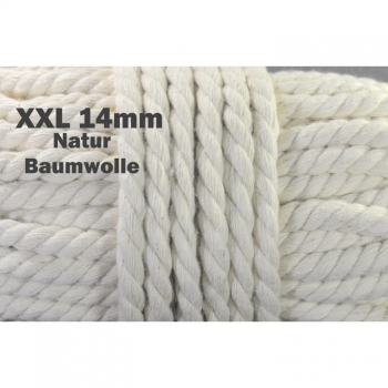 XXL cotton cord cord Dekoband diameter 14 mm, color natural beige perfect for jackets hoodies, gym bags, hoodies and more.