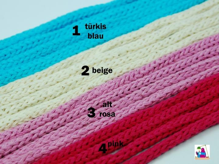 Baumwollkordel Schnur Dekoband Durchmesser 5 mm, geflochtet 4 Farben im Angebot perfekt für Jacken Kaputzen, Turnbeutel, Hoodies uvm.